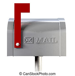 Old School Retro Metal Mailbox Side View - An side view of ...
