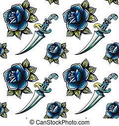 Old school retro vintage doodle tattoo seamless pattern. Rose, knife. continuous openwork emblems symbols. Vector line art oldschool tattoo illustration. Best for printing wrapping paper