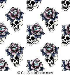 Old school retro vintage doodle tattoo seamless pattern. Rose, skull. knife. continuous openwork emblems symbols. Vector line art oldschool tattoo illustration. Best for printing wrapping paper