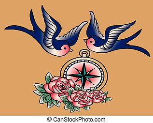 old school sketch - swallows, compass and roses