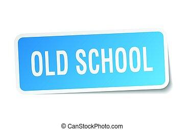 old school square sticker on white