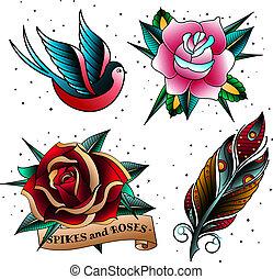 Old school tattoo set