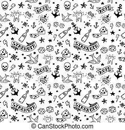 old school tattoos pattern - old school tattoos elements...