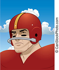 Old School, Tough, Football Player - Easily editable. Add...