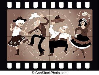 Old school western - Senior people dressed in traditional...