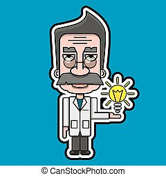 Old Scientist Icon Retro Cartoon Design Vector