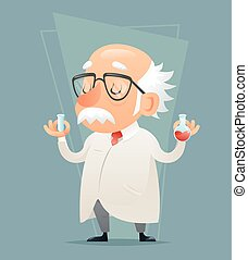 Old Scientist with Test-tube Icon Retro Cartoon Design Mobile game Vector Illustration