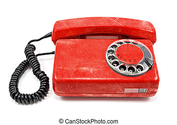 old scratched red telephone