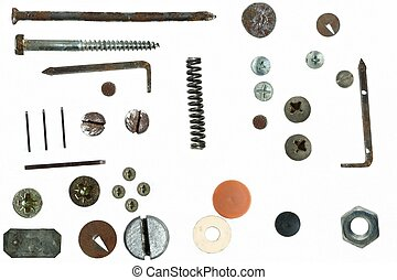 Old Screw heads, bolts, steel nuts,