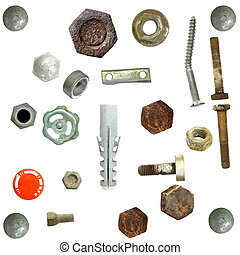 Old Screw heads, bolts, steel nuts