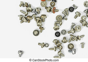 Old screws on the white background