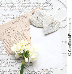 old script with flowers and hearts