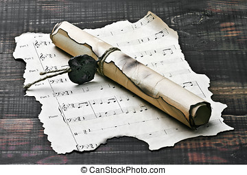 old scroll and notes