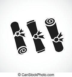 Old scroll paper document vector icon