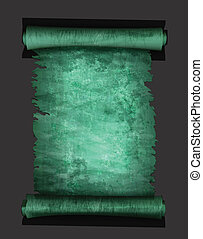 Old scroll paper isolated on black background. Vector