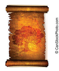Old scroll paper with big tree silhouette. Vector