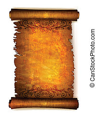 Old scroll paper with ornament. Vector
