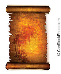 Old scroll paper with palm trees silhouettes. Vector ...