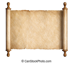 Old scroll parchment with wooden handles isolated 3d illustration