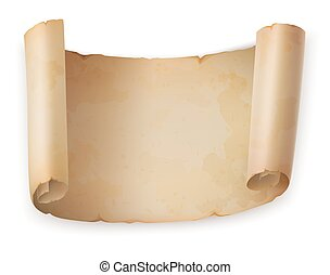 Old scroll roll or vintage parchment, ancient paper
