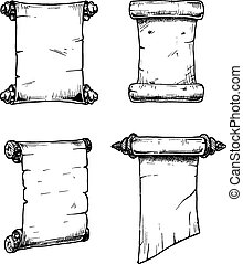 Old scroll - Vector set of the old scrolls stylized as...