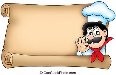 Old scroll with cute chef