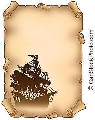 Old scroll with mysterious pirate ship - color illustration.