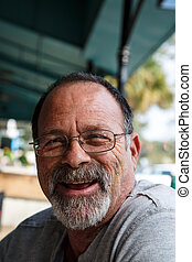 Old Scruffy Guy Laughing - An old scruffy guy with grey ...