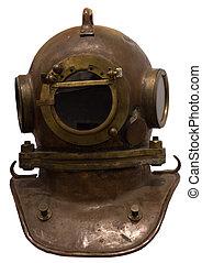 Old scuba gear isolated