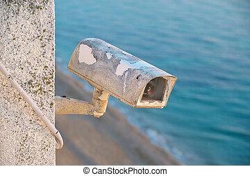 Old security cctv camera.