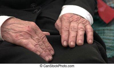 Old senior male hands.