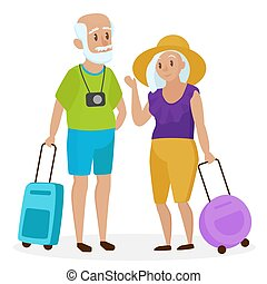 Old Senior people tourists with suitcases. Happy grandparents travelers. Grandpa and grandma. Elderly couple traveling. Cartoon vector illustration.