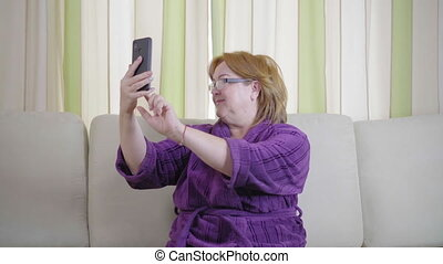 Old Senior Woman Taking Selfie with Smartphone, Photograph