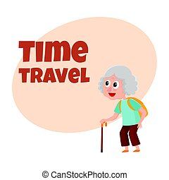 Old, senior woman tourist with backpack and stick on tour