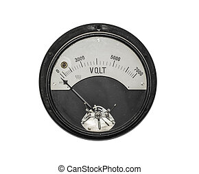 Old sensor voltmeter isolated on white. - Old sensor...