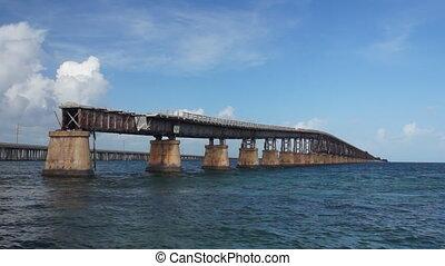 Old seven miles bridge in Florida, - Panoramic real-time...