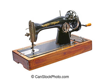 Old sewing machine. Isolated.