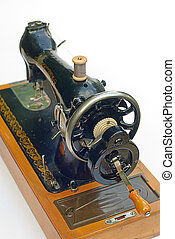 Old sewing machine isolated