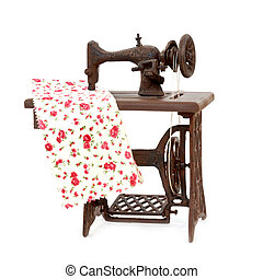 old sewing machine isolated on white background - miniature...