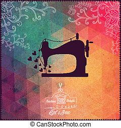 Old sewing machine on hipster background made of triangles with grunge paper. Retro background with floral ornament and geometric shapes. Retro label design. Color flow effect. Hipster theme label.