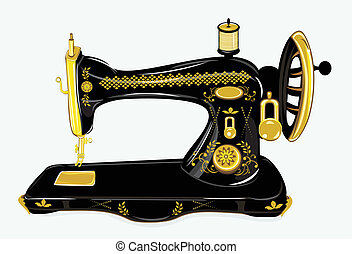 Old sewing machine - vector illustration