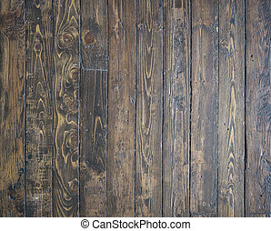Old, shabby and vitage floor. Wooden brown planks textur.