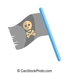 Old shabby black pirates flag with skull on blue stick - Old...