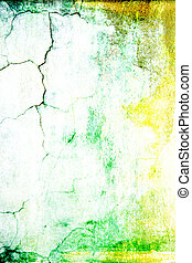 Old shabby wall: Abstract textured background with green, yellow, and brown patterns on white backdrop