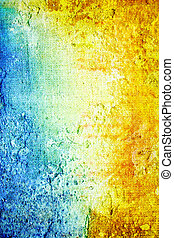 Old shabby wall: Abstract textured background with yellow, blue, and brown patterns on white backdrop