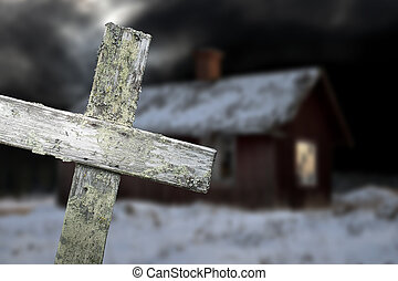 Old shack and wooden cross - Old shack in winter evening ...