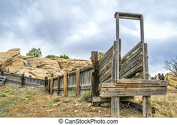 old sheep corral with loading ramp - old abandoned sheep...