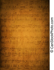 Old sheet music background - Old yellow sheet music with...