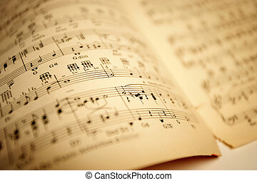 Old sheet music. Shallow depth-of-field.