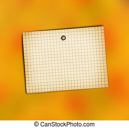 Old sheet of paper on abstract orange background